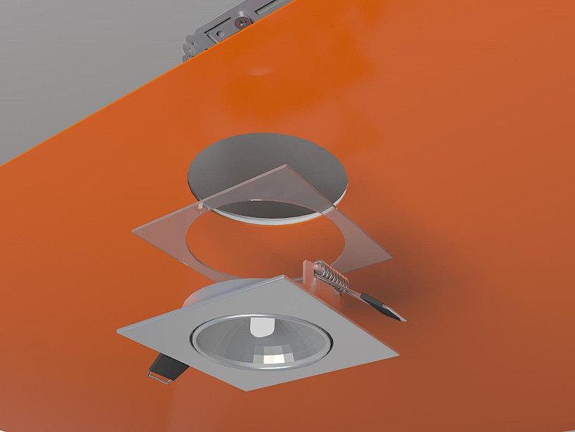 схема монтажа лампочки на натяжной потолок