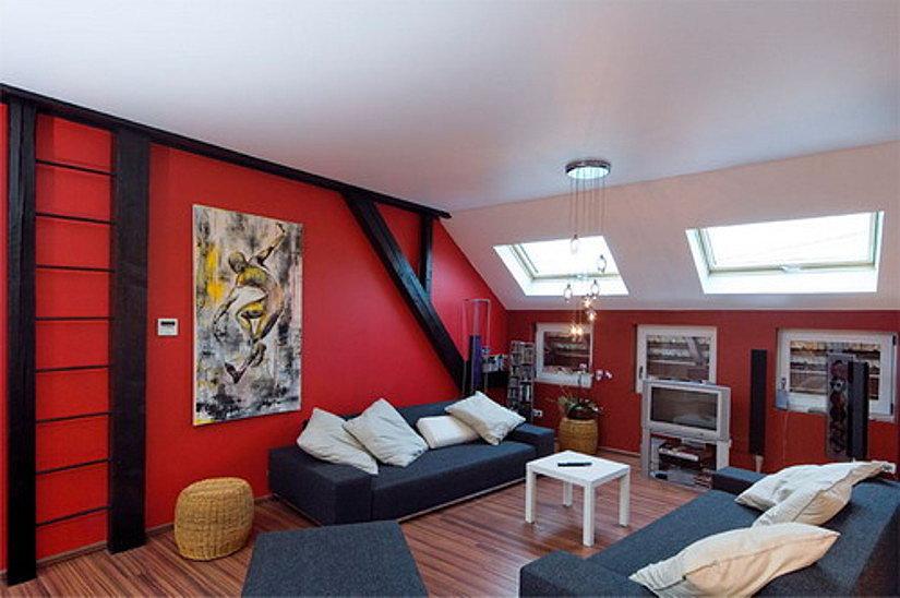 тканевый потолок на мансарде