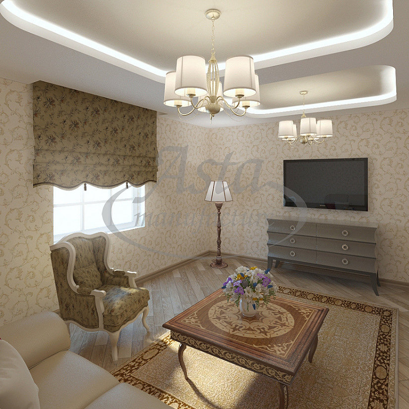 многоуровневый потолок в гостинной