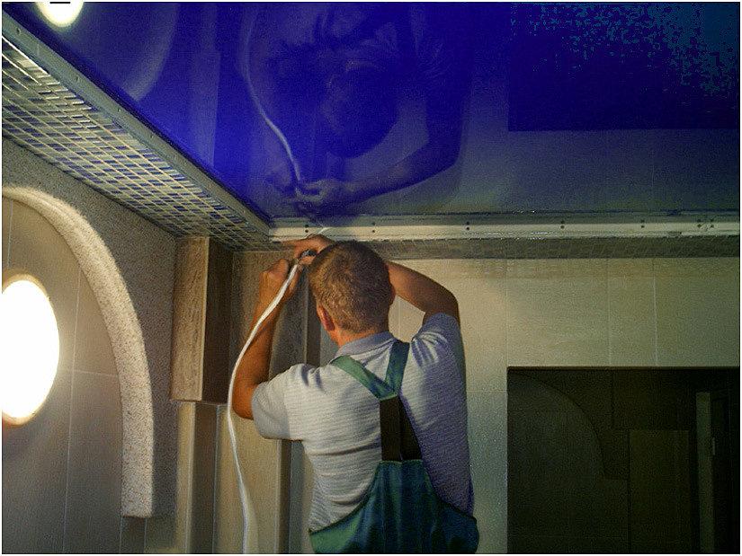 монтаж заглушки для натяжного потолка
