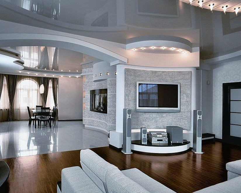натяжной белый потолок