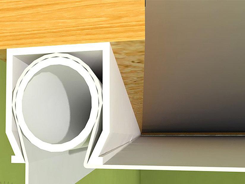 монтаж потолка с помощью штапика
