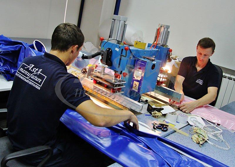 Процесс производства натяжных потолков на фабрике Аста М