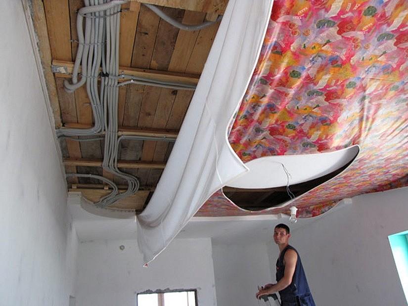 Электроразводка за натяжным потолком