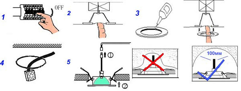 монтаж точечного светильника на натяжной потолок