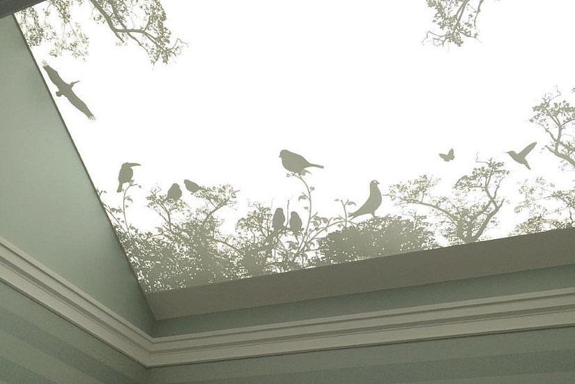 полупрозрачный тканевый потолок
