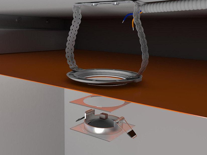 установка точечного светильника на потолок