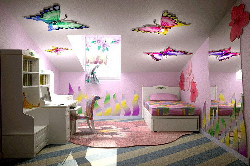 натяжной потолок с фотопечатью в детской