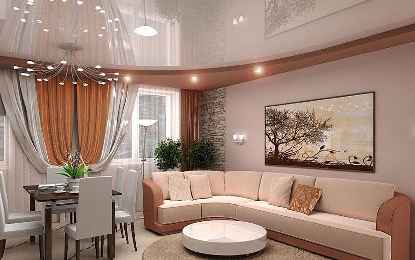 многоуровневые натяжные потолки в квартире-студии