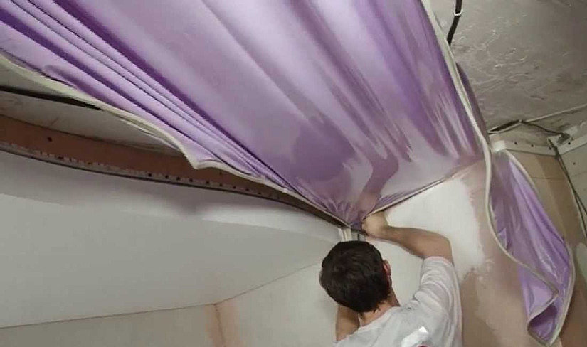 монтаж гарпунного натяжного потолка