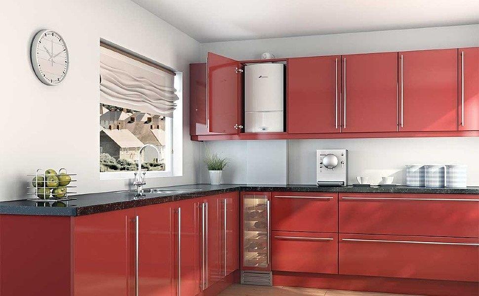 Натяжной потолок на кухне с газовой колонкой