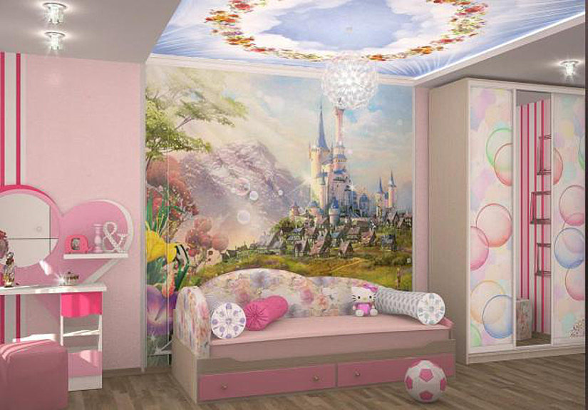 натяжной потолок в комнате девочки