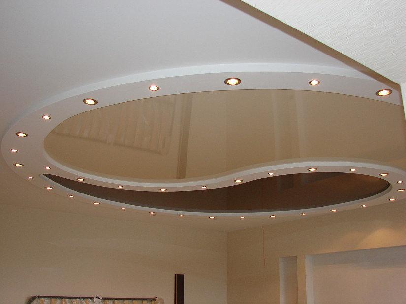 виды двухуровневый потолок из гипсокартона фото