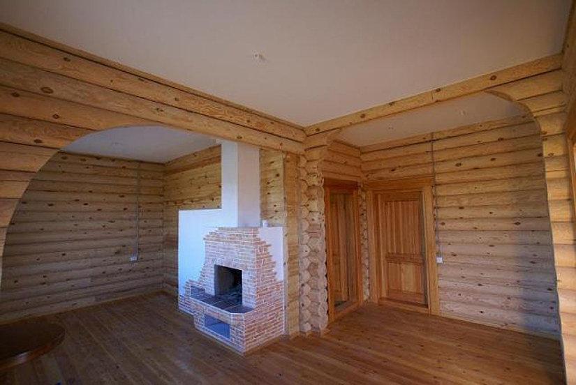 Тканевый потолок в частном доме из бруса