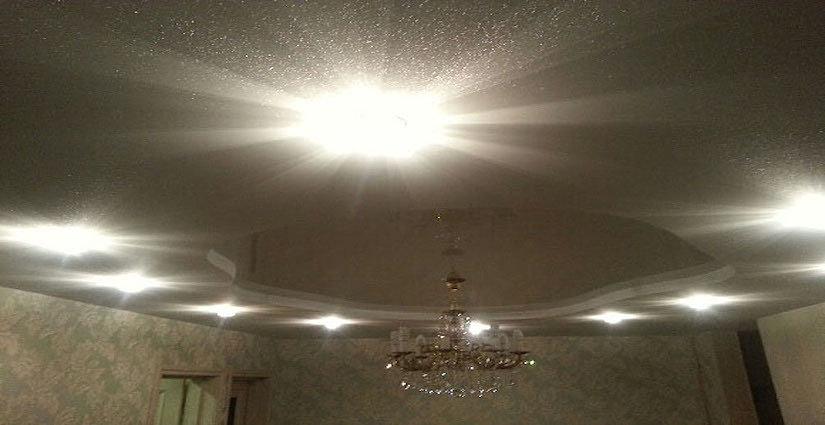 тканевые натяжные потолки с блестками