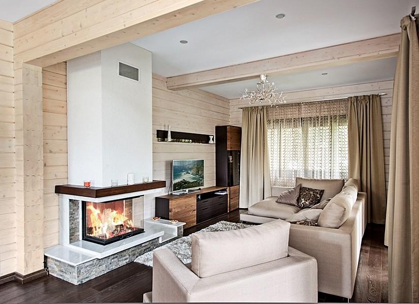 Текстильный натяжной потолок в комнате с камином