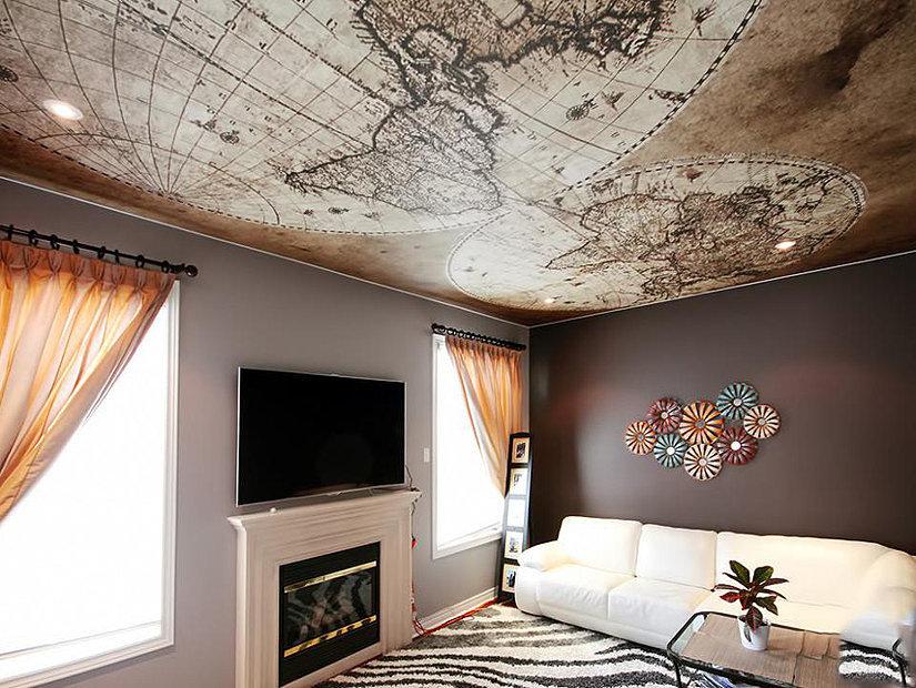 фотопечать на потолке в гостиной