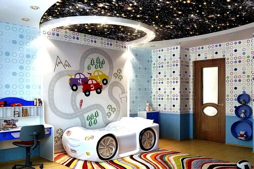 Натяжной потолок звездное небо в детской