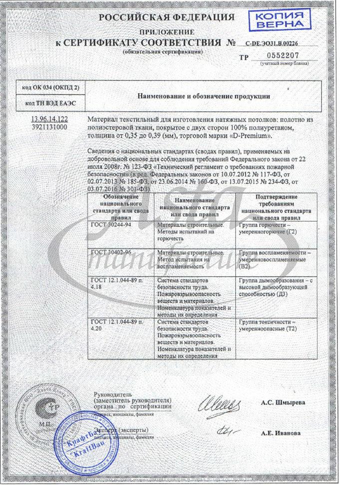 Сертификат соответствия натяжных потолков