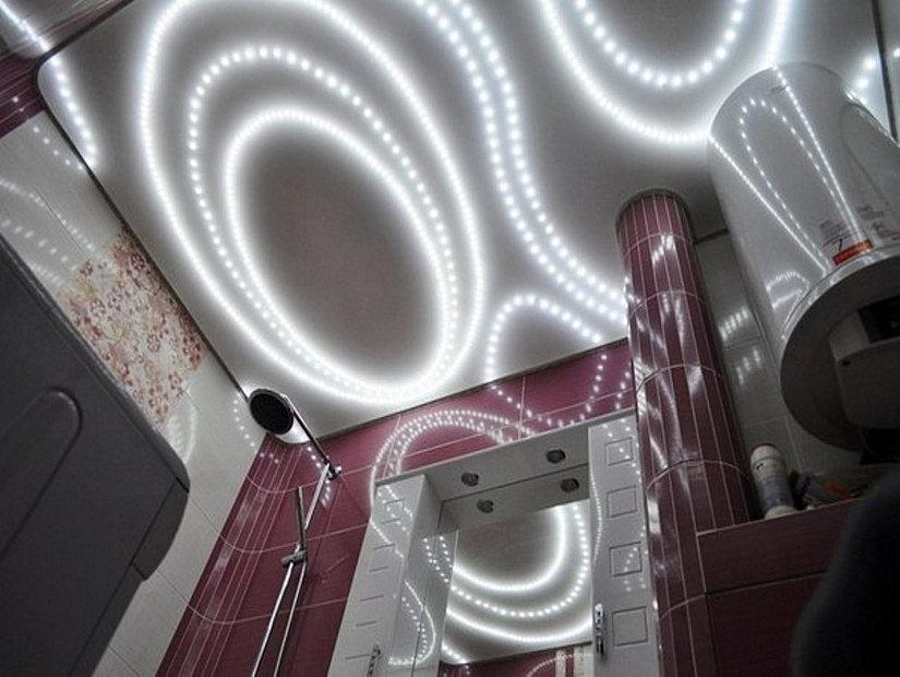 светодиодные ленты на натяжном потолке