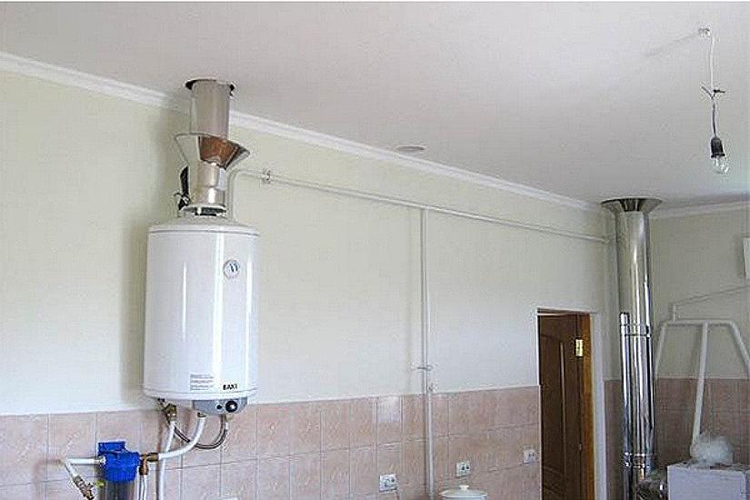 дымоход через натяжной потолок