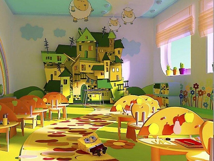 Натяжной потолок в детском саду