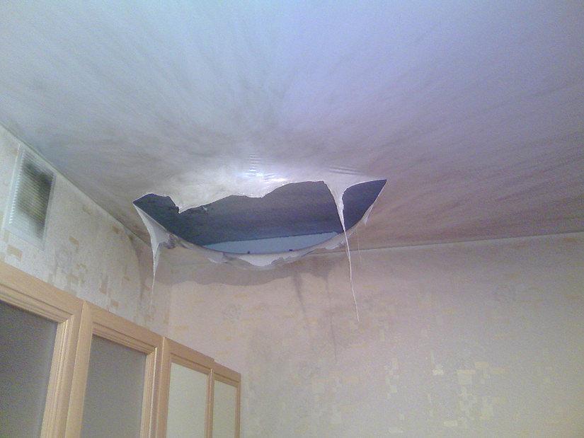 Плавление ПВХ пленки натяжного потолка