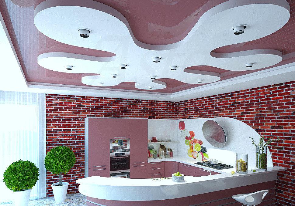 """Готовый многоуровневый натяжной потолок с конструкцией """"Ромашка"""""""