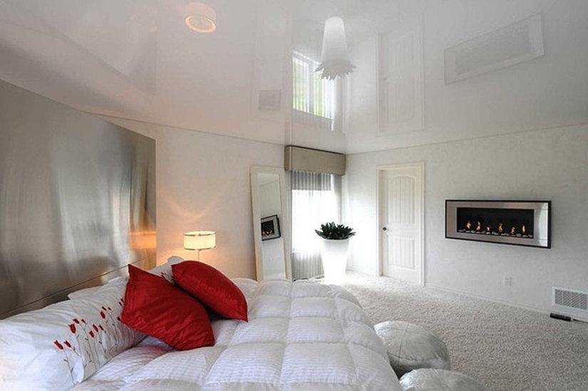 белый глянцевый потолок