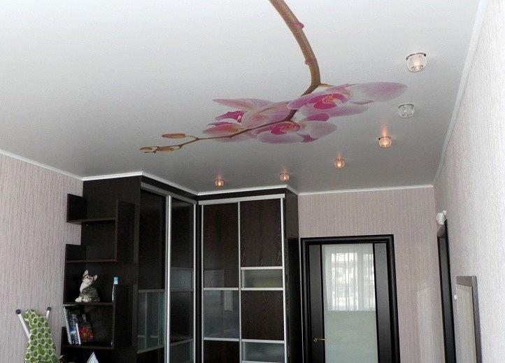 Натяжной потолок с фотопечатью в комнате со шкафом-купе