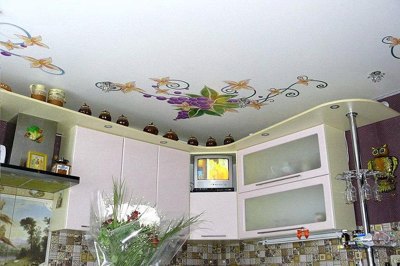 фотопечать на натяжных потолках кухни