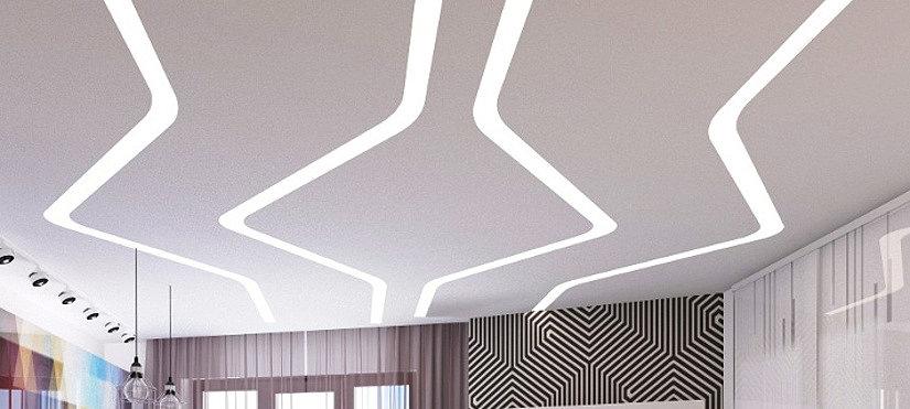 Красивый потолок парящие линии