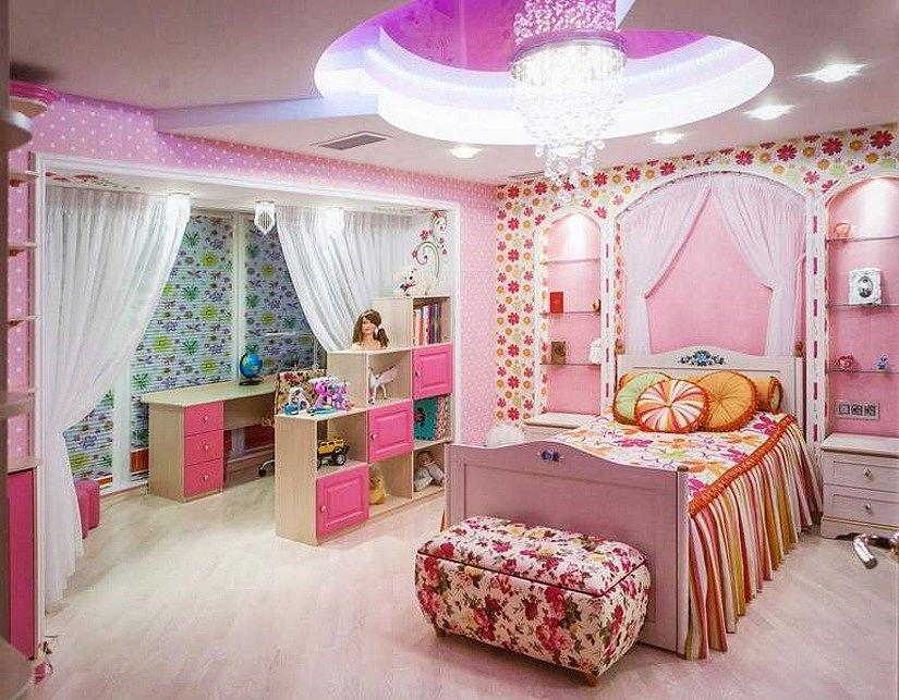 Многоуровневый натяжной в детской комнате девочки