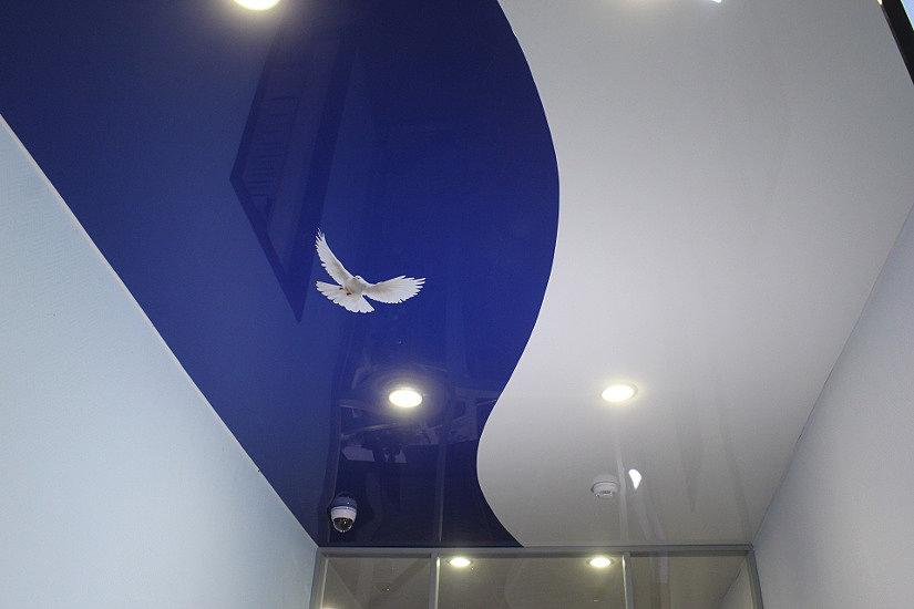 Наклейка на цветном натяжном потолке