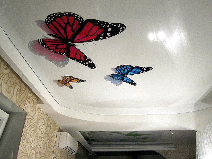 Объемные 3д бабочки на потолке