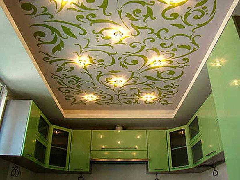 абстрактная фотопечать на потолке