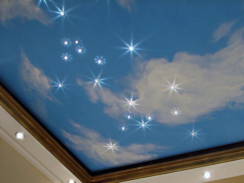 фотопечать на натяжном потолке со звездным небом