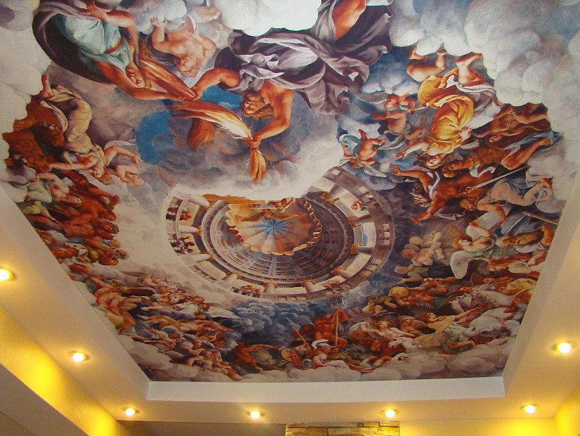 фреска на натяжном потолке