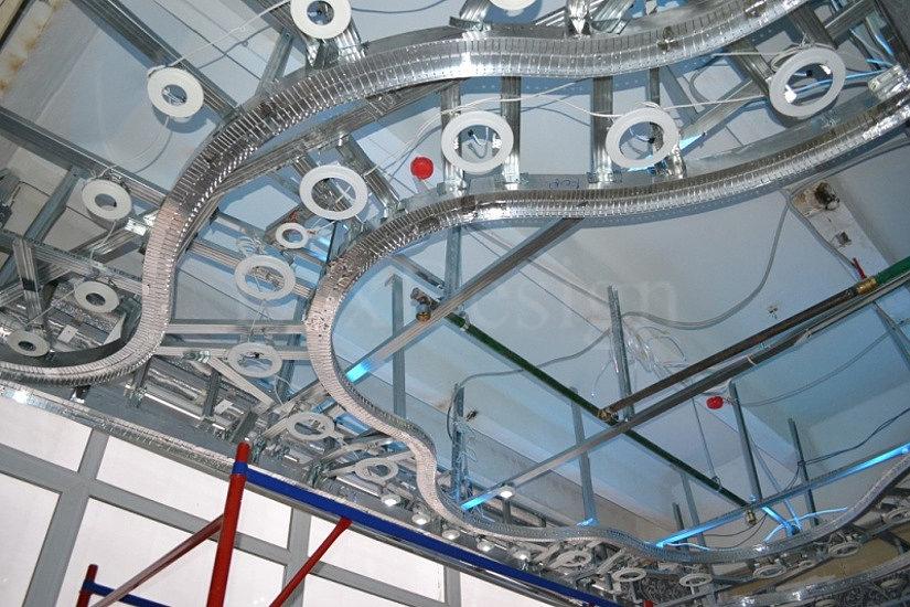 Сложная конструкция каркаса для монтажа многоуровневого натяжного потолка