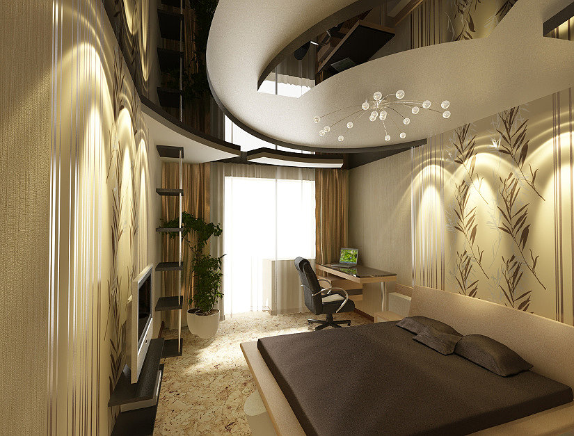 Натяжные потолки в три уровня