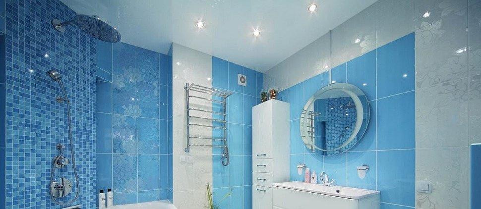 Установка натяжного потолка в ванной комнате
