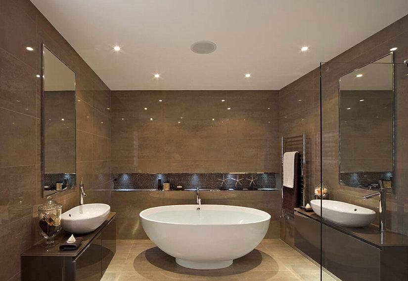 Текстильный натяжной потолок в ванной