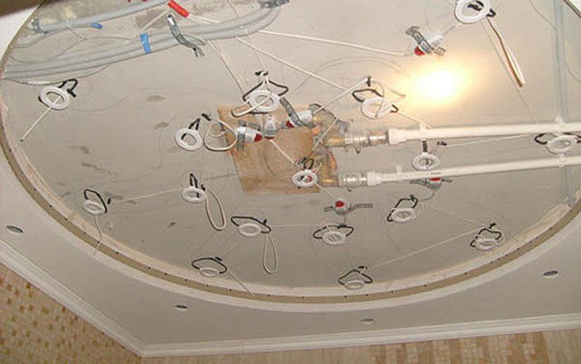 закладные для монтажа светильников на натяжном потолке